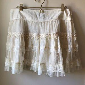 NEW Cream Lace Mini Skirt